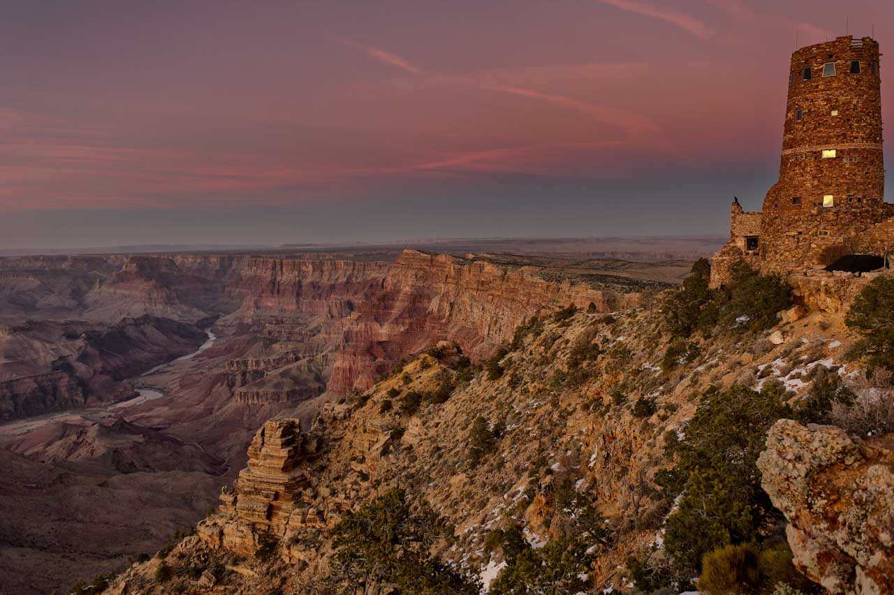 The Grand Canyon photographed from the south rime in the state of Arizona at dusk.