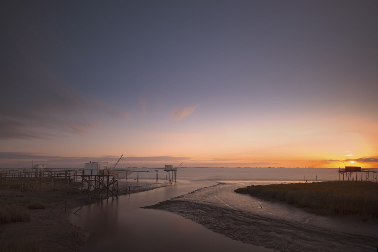 Landscape of Gironde Estuary in Charente-Maritime in West of France.