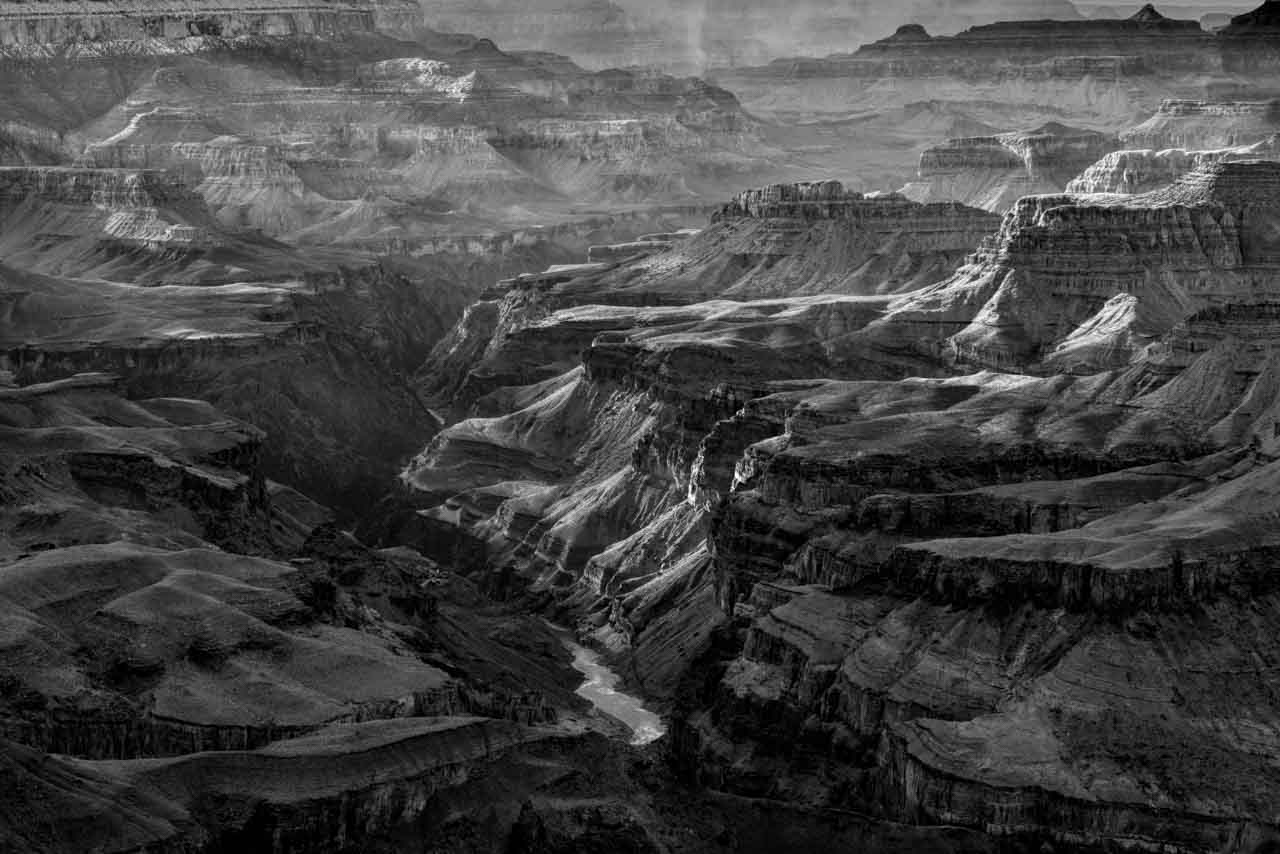 Photograph in black and white of the Grand Canyon from Arizona State in USA.
