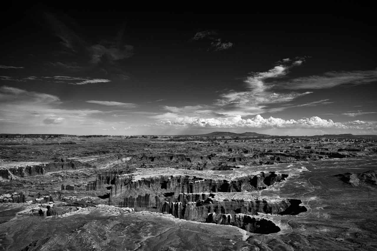 Landscape in black and white of Island in the Sky in Canyon Lands in Utah.