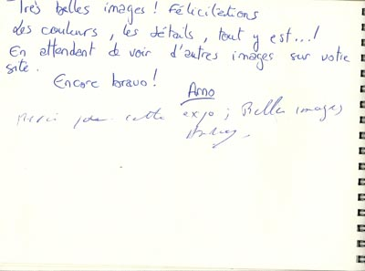 The guest book of the exhibition Lights and Colors of the coast of Charente-Maritime in France. Exhibition created by Isabelle and Amar Guillen.