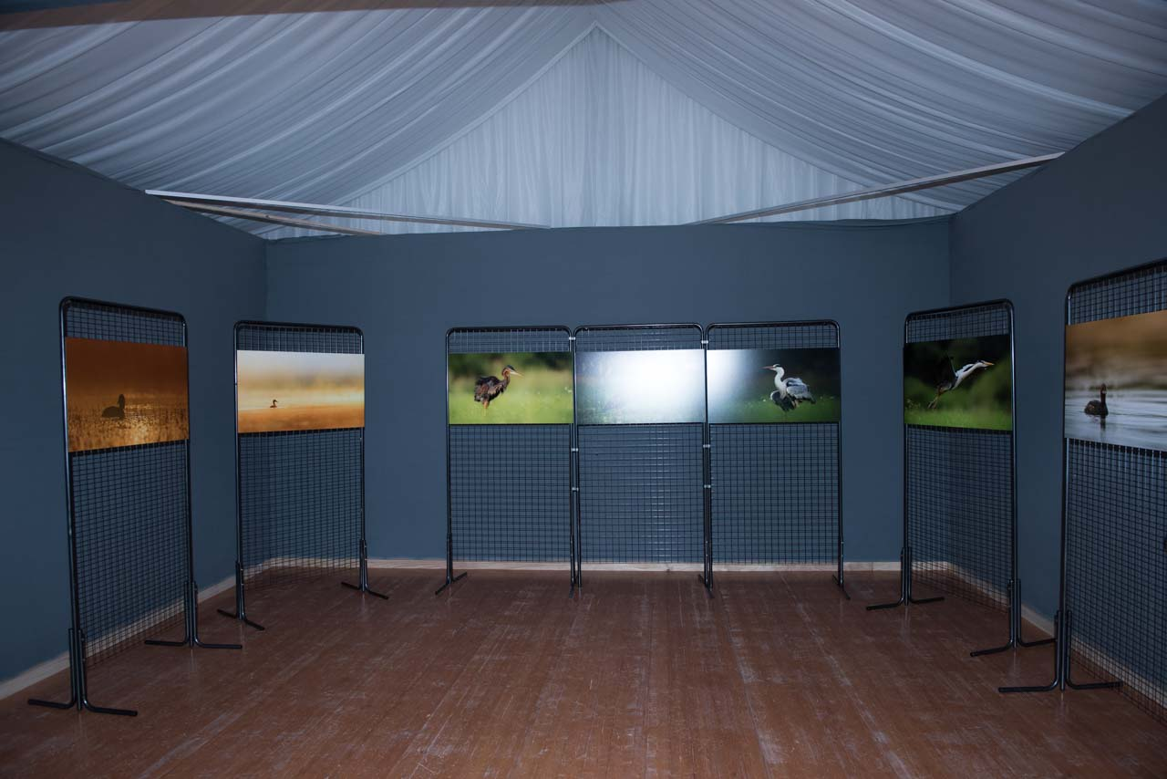 The exhibition 'Atmosphères on the ponds of la Dombes' displayed at the castle of Creusettes in the heart of la Dombes in the department of Ain in France.