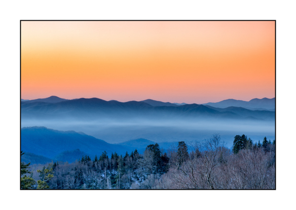 Blue sunrise in the Smoky Mountains, Tennessee