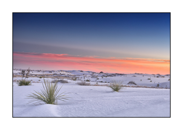 Softness and tranquility of a sunset in White Sand Dunes in New Mexico.