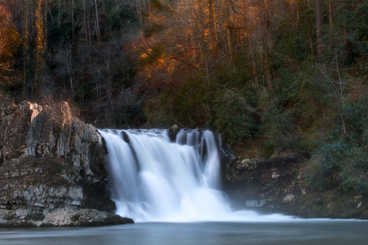 A waterfall in the Smoky Mountains in Tennessee. Photograph by Amar Guillen, photographer artist.