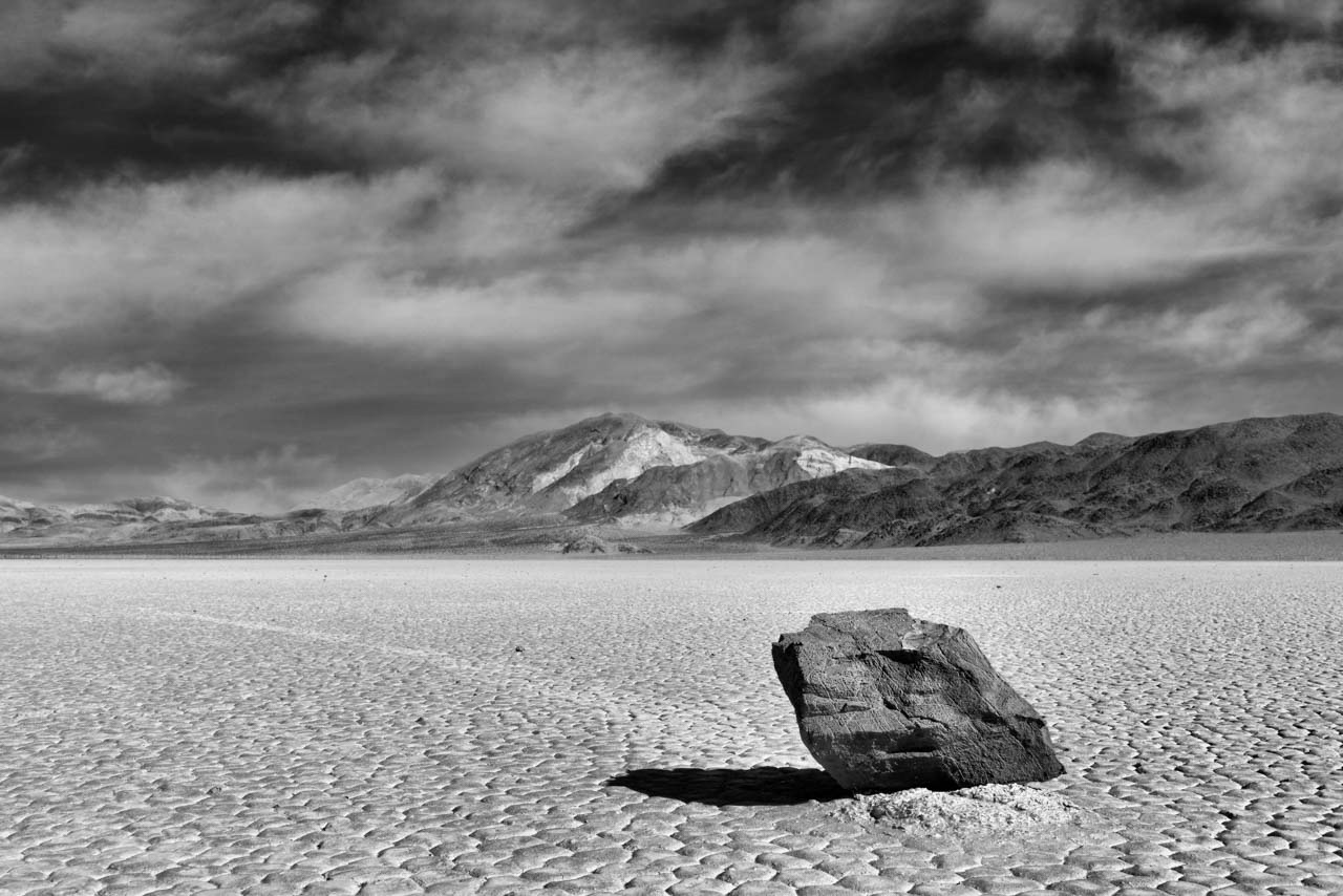 Sailing rock in Race Track in Death Valley, California, United States. Photograph by Amar Guillen, photographer artist.