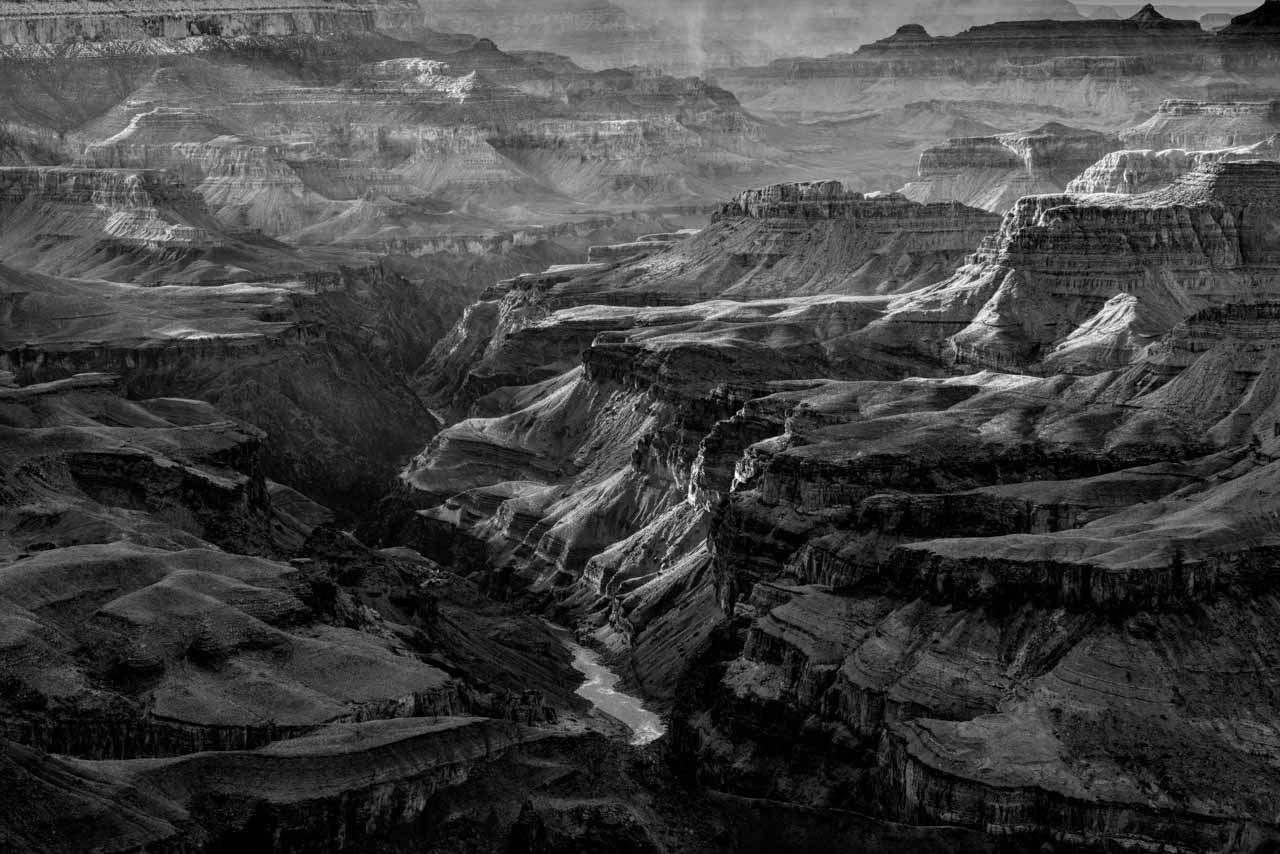 Landscape of Grand Canyon in Arizona in black and white. Photograph by Amar Guillen, photographer artist.