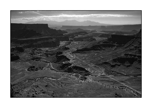 Paysages de Canyonlands, Island in the Sky, en noir et blanc