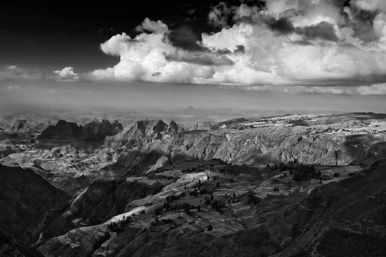 Landscape photo in black and white of the Semien Mountains in Ethiopia. Photograph by Amar Guillen, photographer artist.