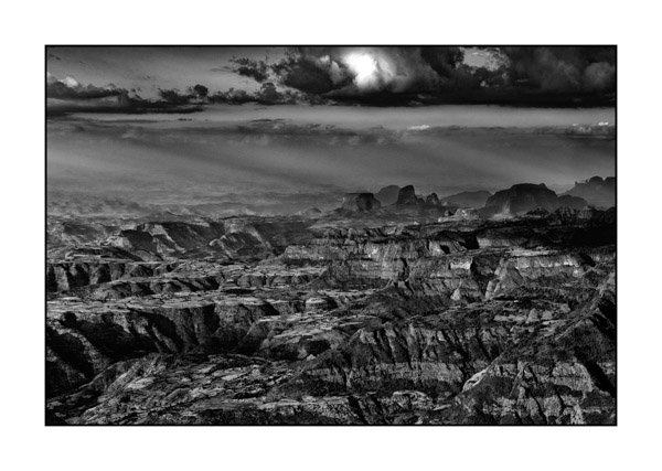 Landscape in Black and White of Semien Mountains in Ethiopia