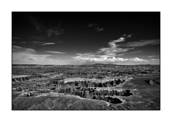Landscape of Island in the Sky in the Canyonlads in Utah in United States. Black and white photograph by Amar Guillen, photographer artist.