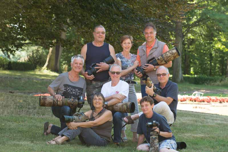 The participants of the wildlife photo workshop from floating blinds in La Dombes in France