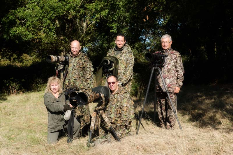 The participants of the wildlife photo workshop (from left to right): Raphael, Sylvie, Gregory, Pascal and Guy
