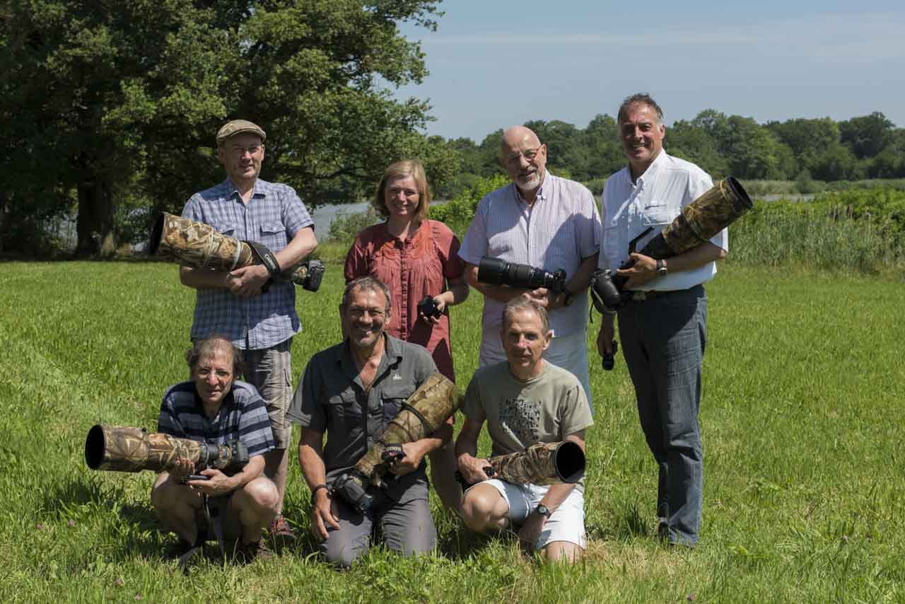The participants of this wildlife photography workshop with floating hides in La Dombes in June 2017: Benoit, Robert, Nathalie, Serge, Jean-Francois, Francis and Amar.