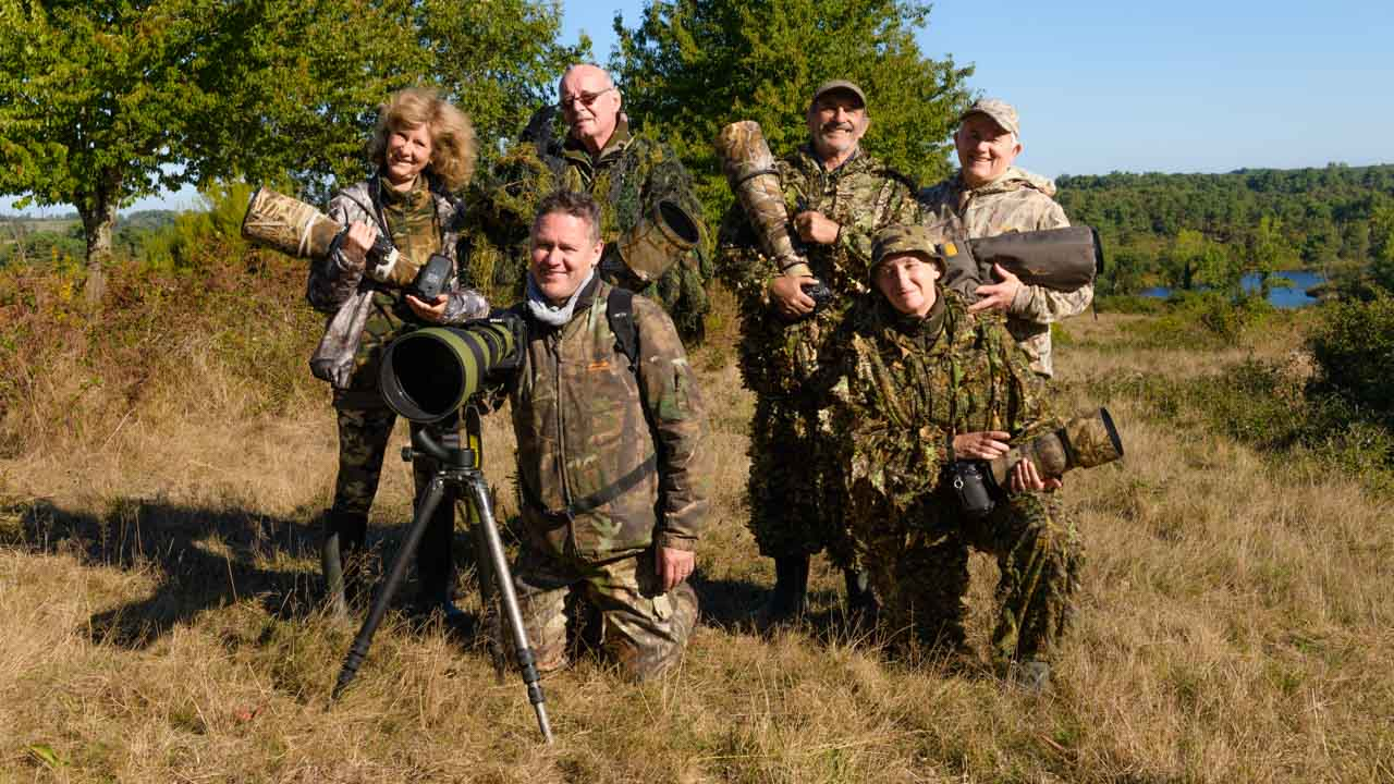 The participants to the wildlife photo workshop dedicated to the rut of the red deer in France in 2018 : Annik, Jean-Philippe, Pierre, James, Dominique and Pascale.
