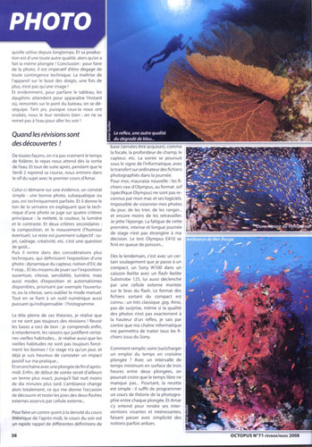 Article paru dans le magazine Octopus. Il relate le déroulement de nos stages photo sous-marine.