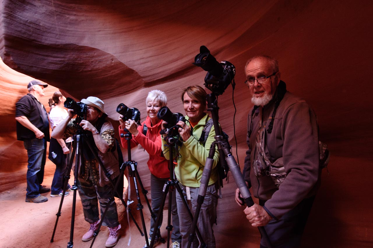 A group of landscape photographers in a slot of Antelop Canyon in Arizona, United States.