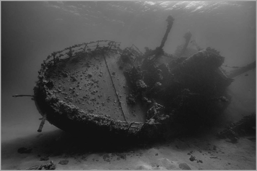 Hamata Wreck in the Red Sea in Egypt in black and White.