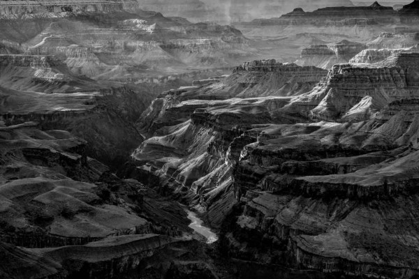 Grand Canyon in Arizona in United States in black and white