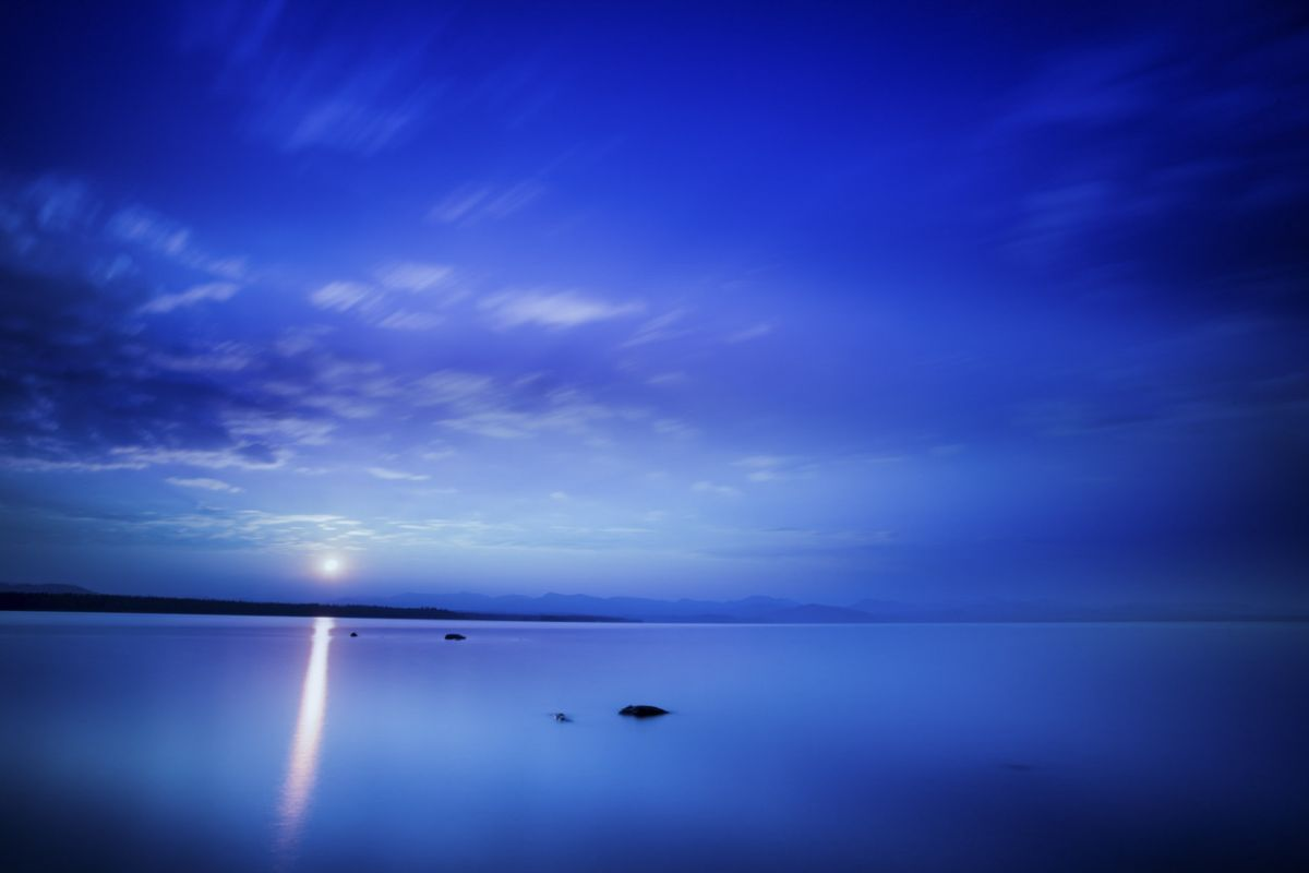 Blue hour at dawn on Yellowstone lake.