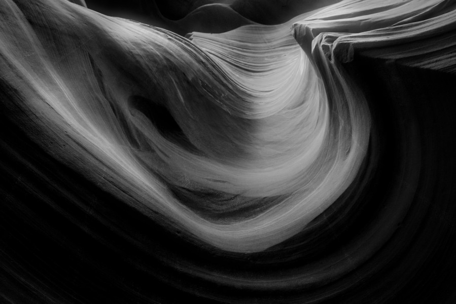 Antelope Canyon in black and white.