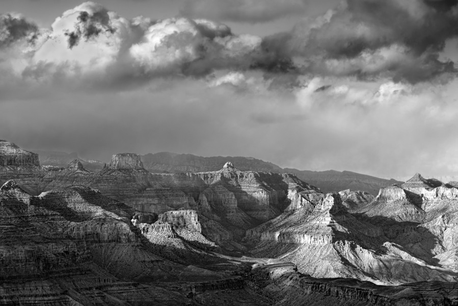 Grand Canyon en Arizona en noir et blanc.Grand Canyon in Arizona