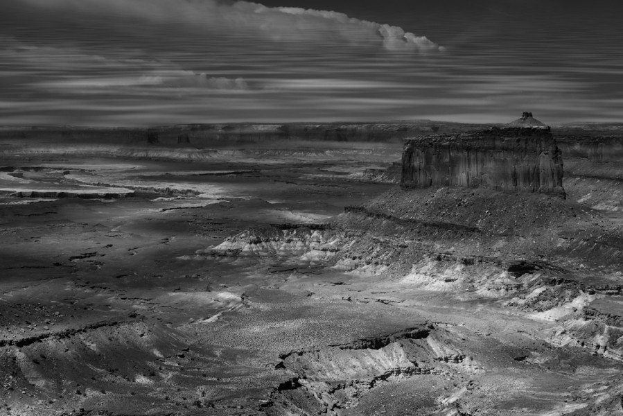 Canyonlands Island in the Sky in Utah in black and white.