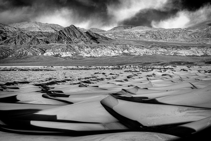 Dunes in the Death Valley in California in black and white.