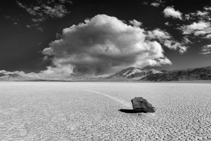 Race Track in the Death Valley in California in black and white.