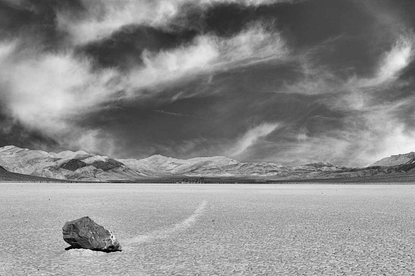 A black and white photograph taken in the Racetrack Playain Death Valley.